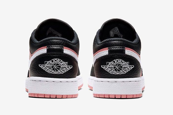 Air Jordan 1 Low Gs Pink Quartz 554723 016 Heel Shot