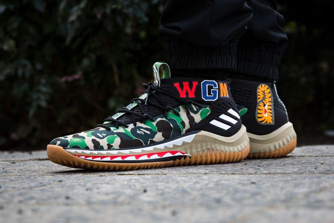 Bape X Adidas Dame 4 On Feet 1