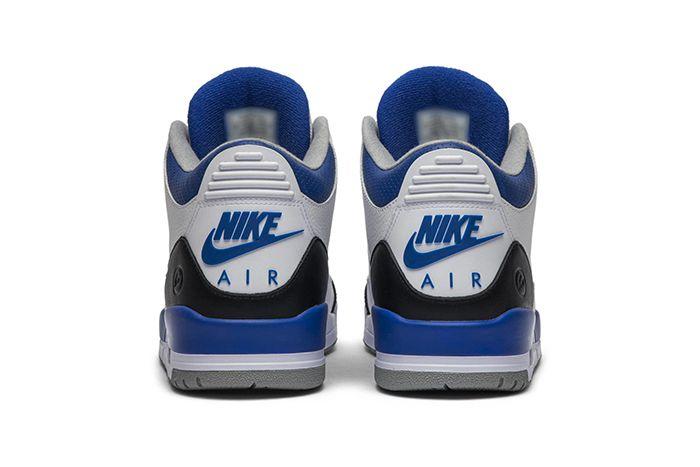 Fragment Design Air Jordan 3 Sample White Blue Black Hiroshi Fujiwara Release Date Heel