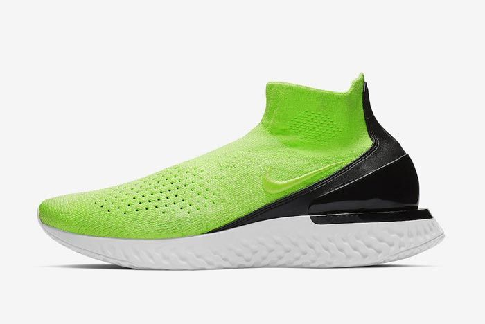 Nike Rise React Flyknit Lime Blast Lateral