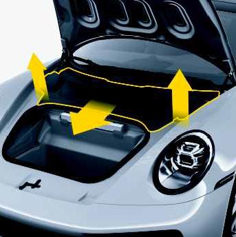 Cobertura plástica no interior do capo do Porsche 911 992