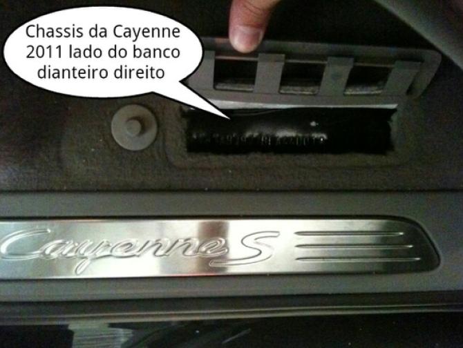 Gravação do chassis no assoalho da Cayenne 2011 a 2018