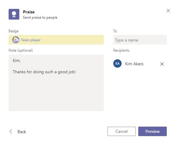 Microsoft Teams Tips and Tricks - Praise Feature