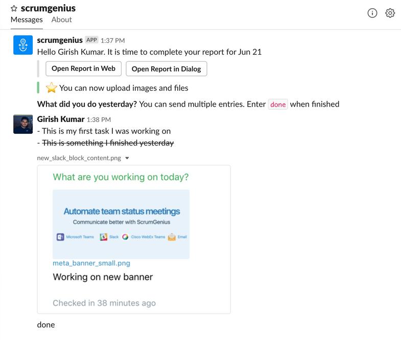 The ScrumGenius app for Slack