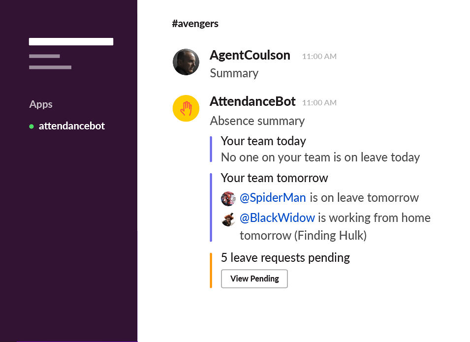 AttendanceBot for Slack (remote teams)