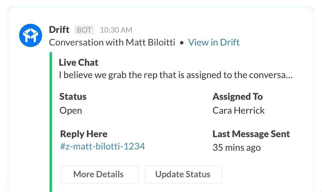 The Drift app for Slack