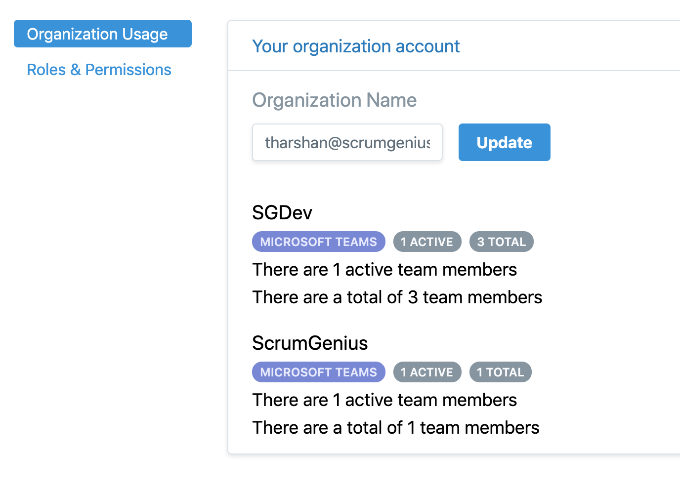 We've added a new page for account admins to help them better manage their ScrumGenius accounts.