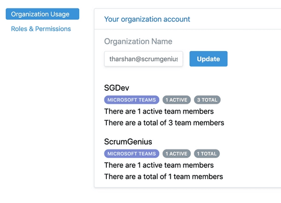 ScrumGenius dashboard roles and permissions