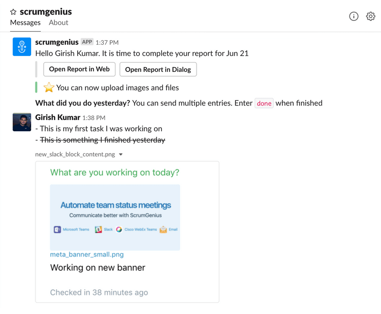 ScrumGenius for Slack (remote teams)