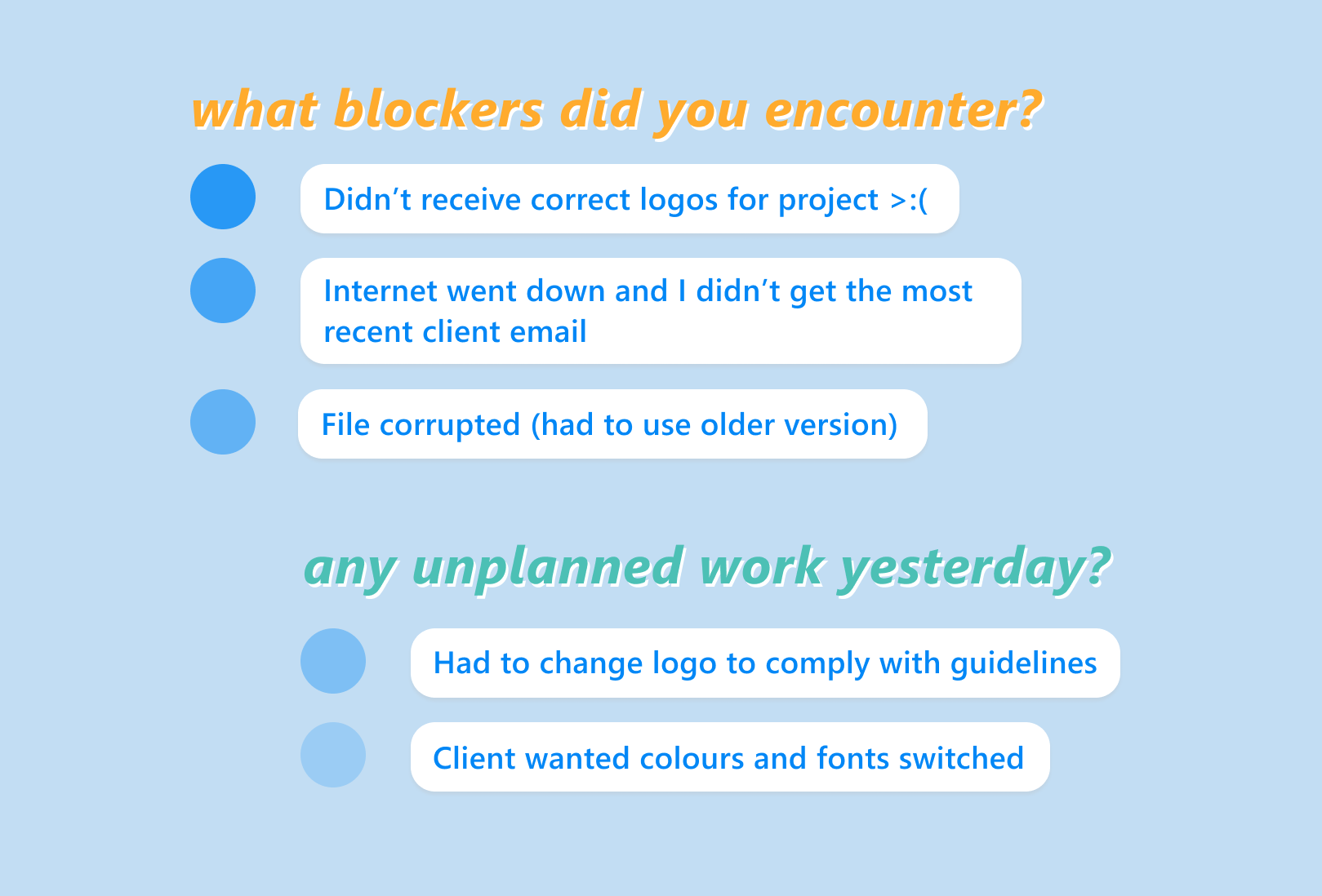 Standup Report Questions for Designers -- blockers and tasks