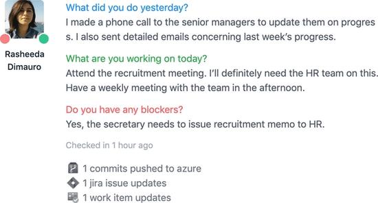 Screenshot of Team Activity