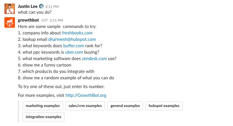 HubSpot's GrowthBot app for Slack