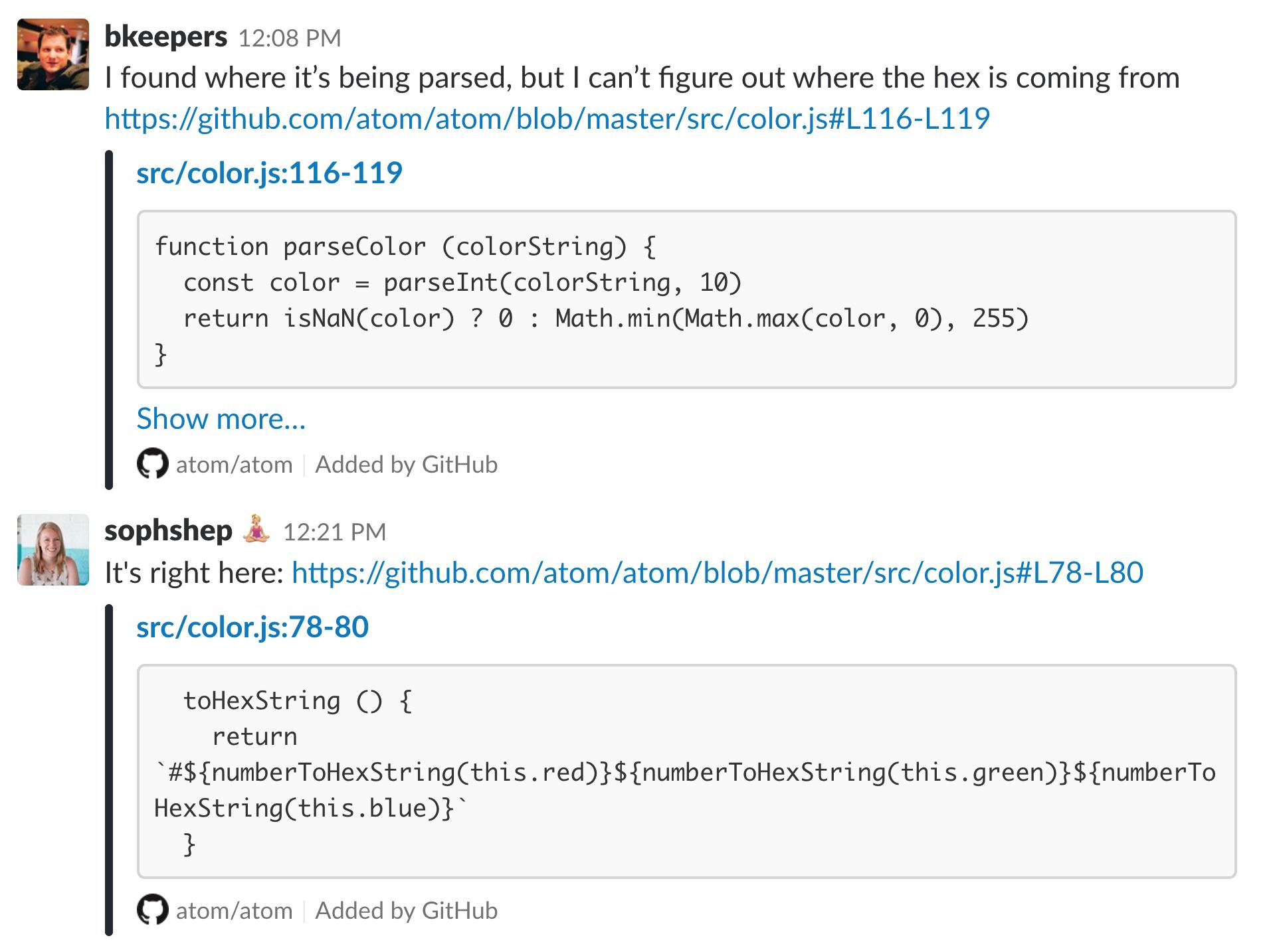 The GitHub app for Slack