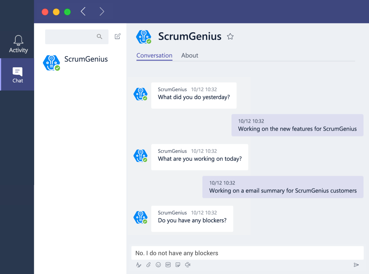 ScrumGenius for Microsoft Teams standups