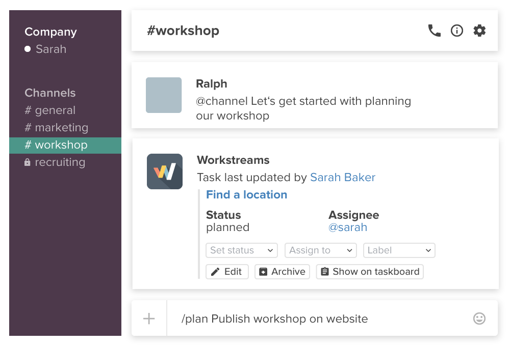 Workstreams for Slack (remote teams)