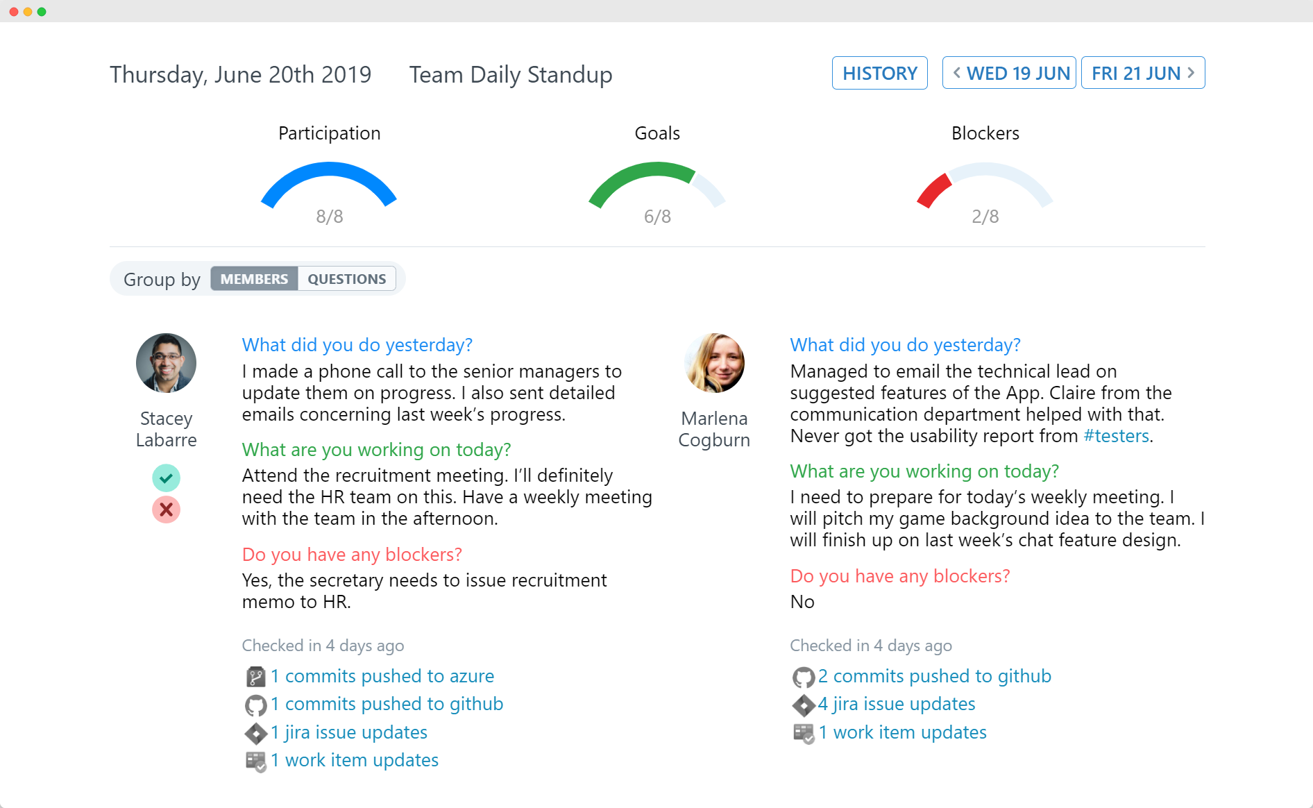 ScrumGenius team dashboard