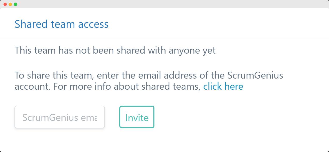 Share team access in ScrumGenius
