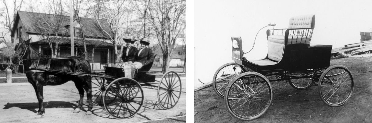Image comparing horse-drawn carriage to early automobile