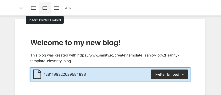 Sanity Studio's editor now offers two options, Twitter Embed and Instagram Embed