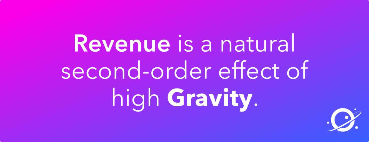 Text: Revenue is a natural second-order effect of high gravity.