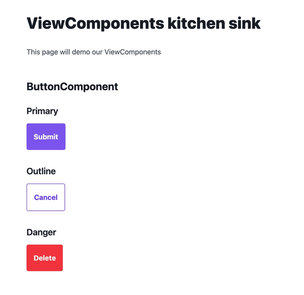 The Kitchen Sink page now displays three button: one is styled with the primary color, another is outline, and the third is red