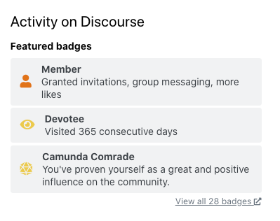 "Screenshot of Discourse badges, including ""Devotee"" and ""Camunda Comrade"""