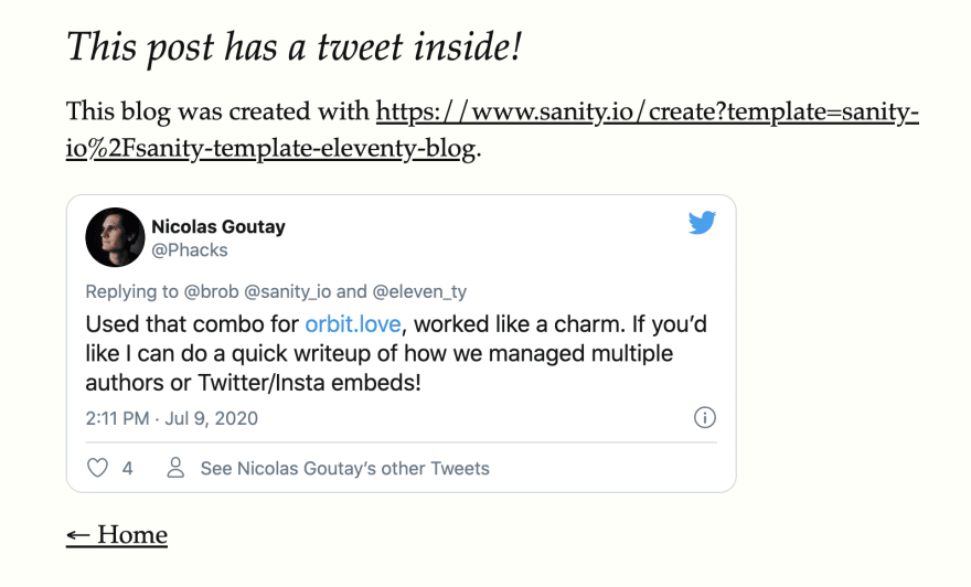 A blog post with a tweet embedded