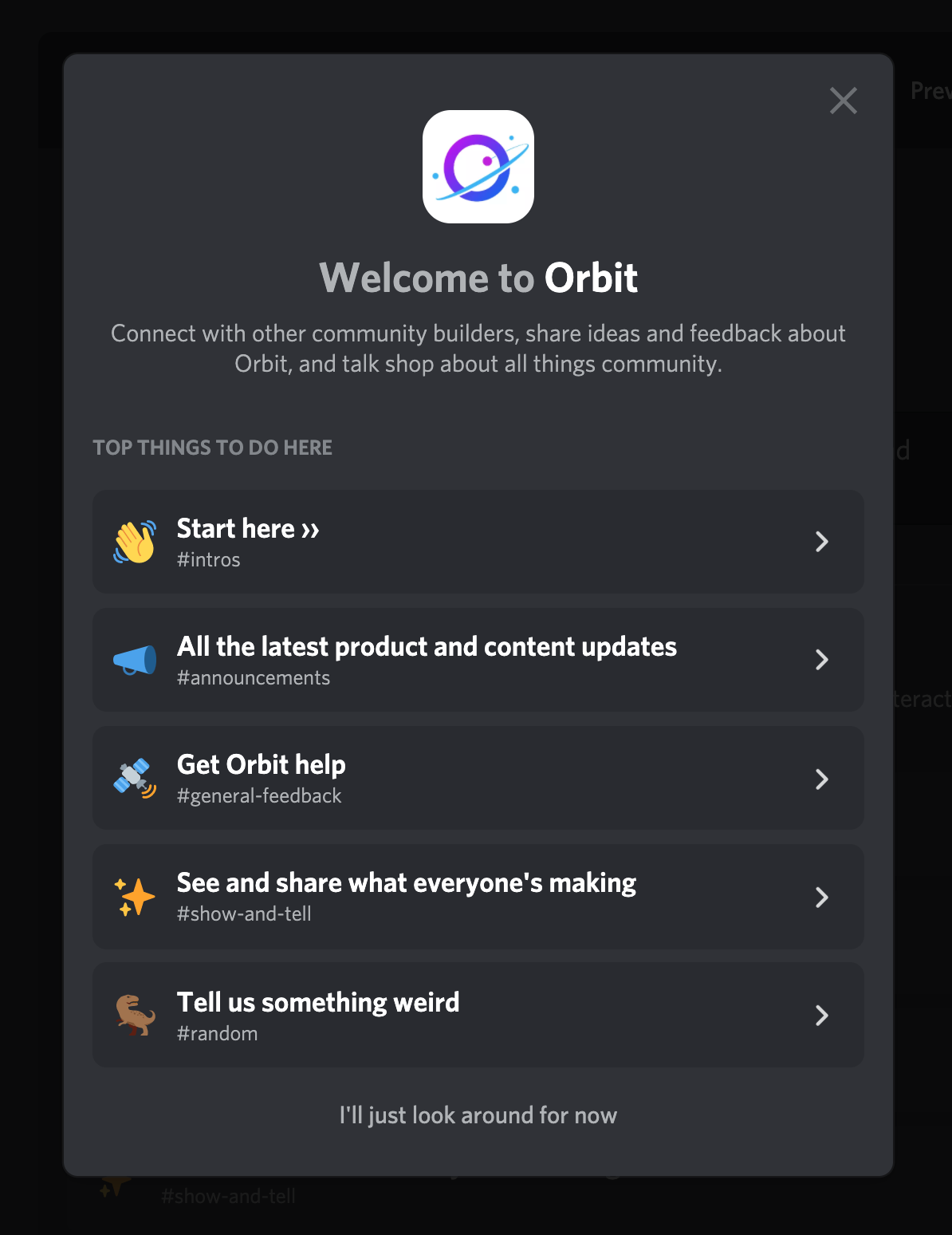 Screenshot of the Orbit Discord Welcome Message