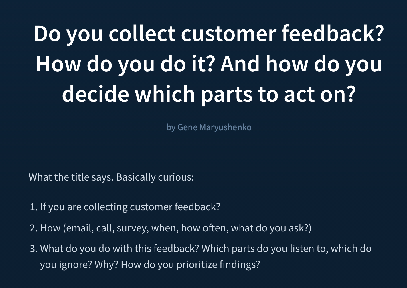 Collecting Feedback Forum Post