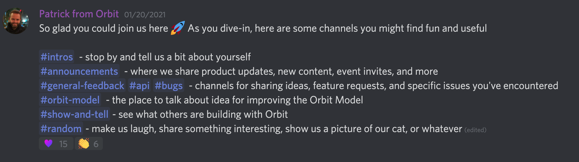 Screenshot of the Orbit Discord server welcome message