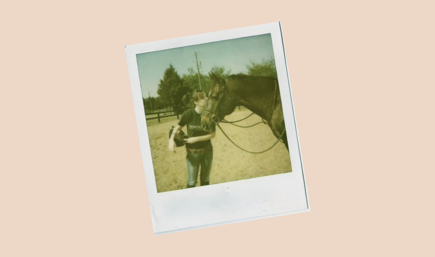 polaroid of girl with horse