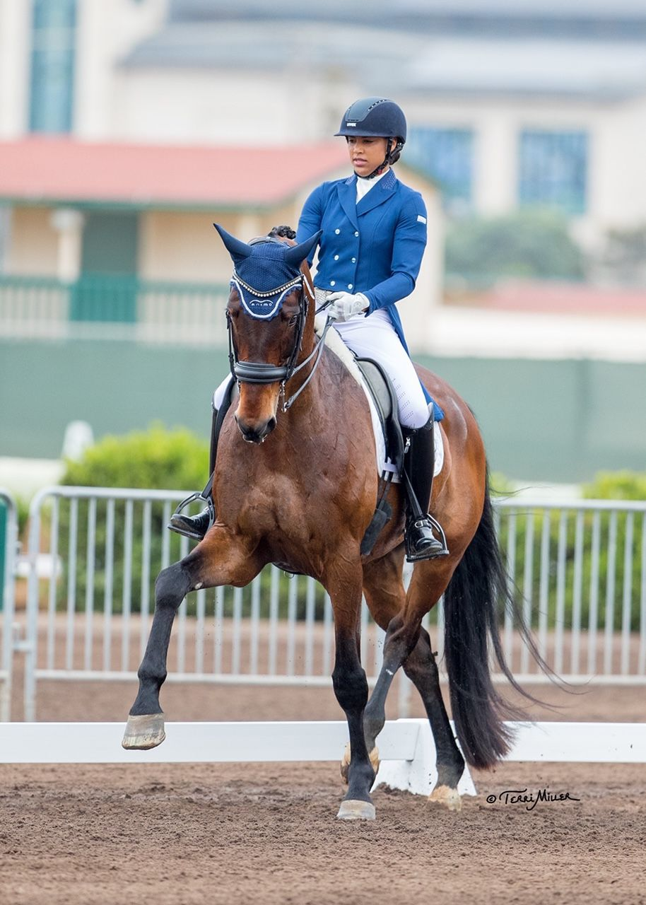 Anna Buffini and her horse competing.
