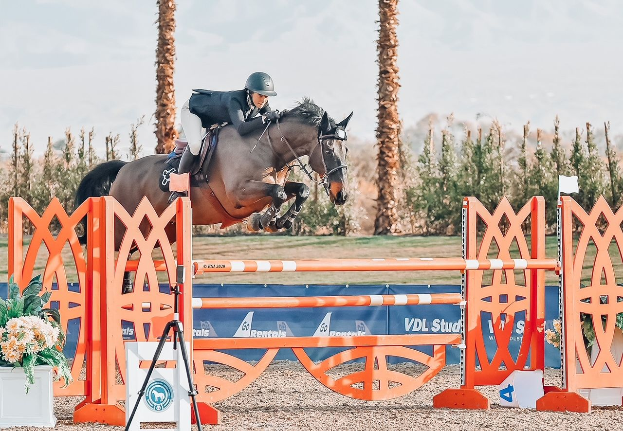 equestrian erin lane and her horse jumping