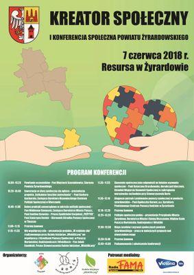 Plakat z Kreator Społeczny I Konferencja Społeczna Powiatu Żyrardowskiego