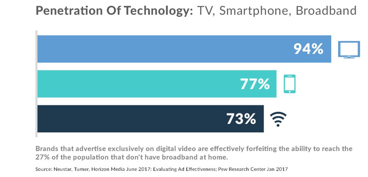 Nearly 25% of Americans don't even have the ability to be reached by digital video advertising