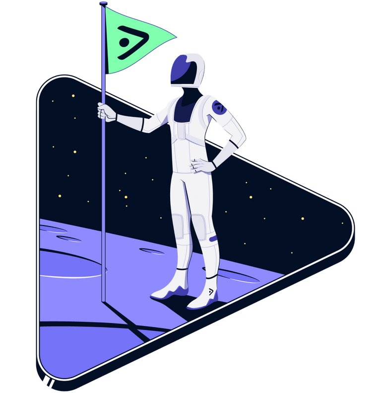 TV advertising astronaut helping brands win stands on moon with flag.