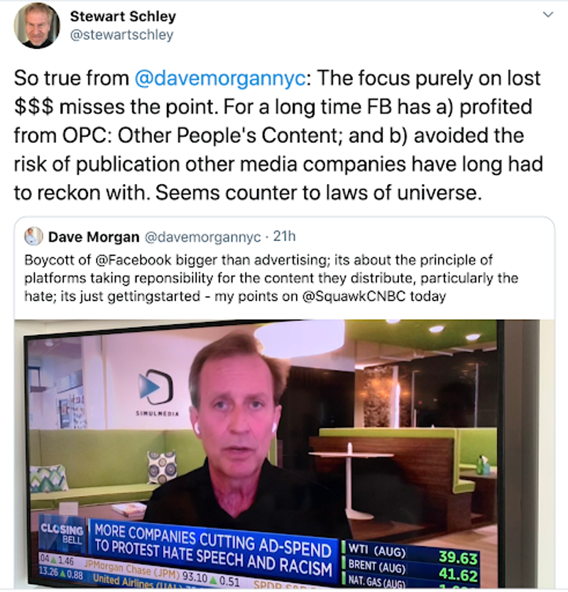 stewart schley retweets Dave Morgans appearance on closing bell