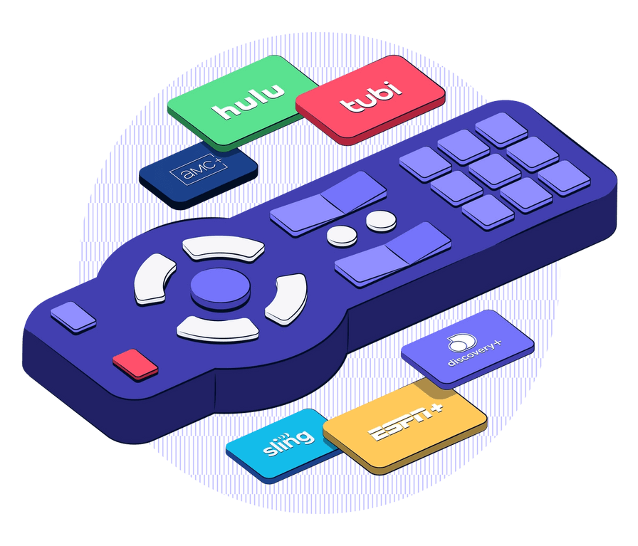 Image showing a linear TV remote and a collection connected TV streaming apps to show how Simulmedia offers unified linear and connected TV advertising.