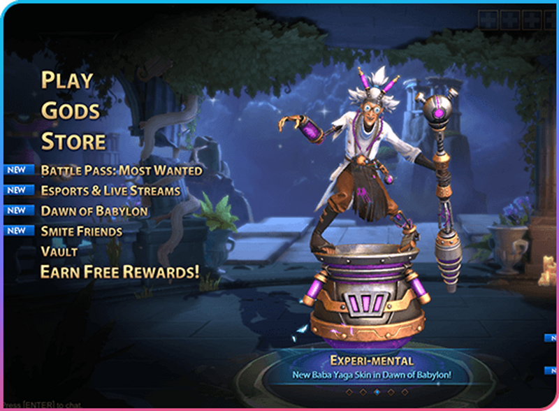 Screenshot of the PlayerWON video game advertising experience that showcases a user on main menu before selecting to earn free rewards.
