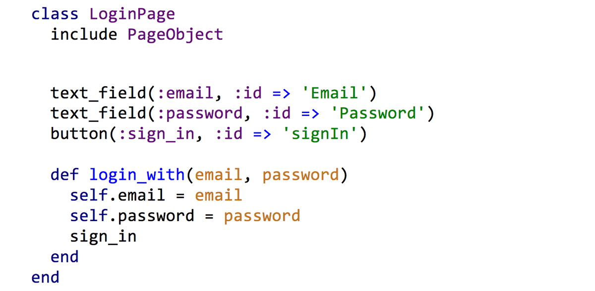 Image showing how to create a Login page using an Page Object gem.