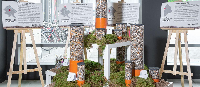 Cover Image for Rīgas centrā atklāta ekspozīcija, parādot dabā nonākušo cigarešu izsmēķu patieso apjomu
