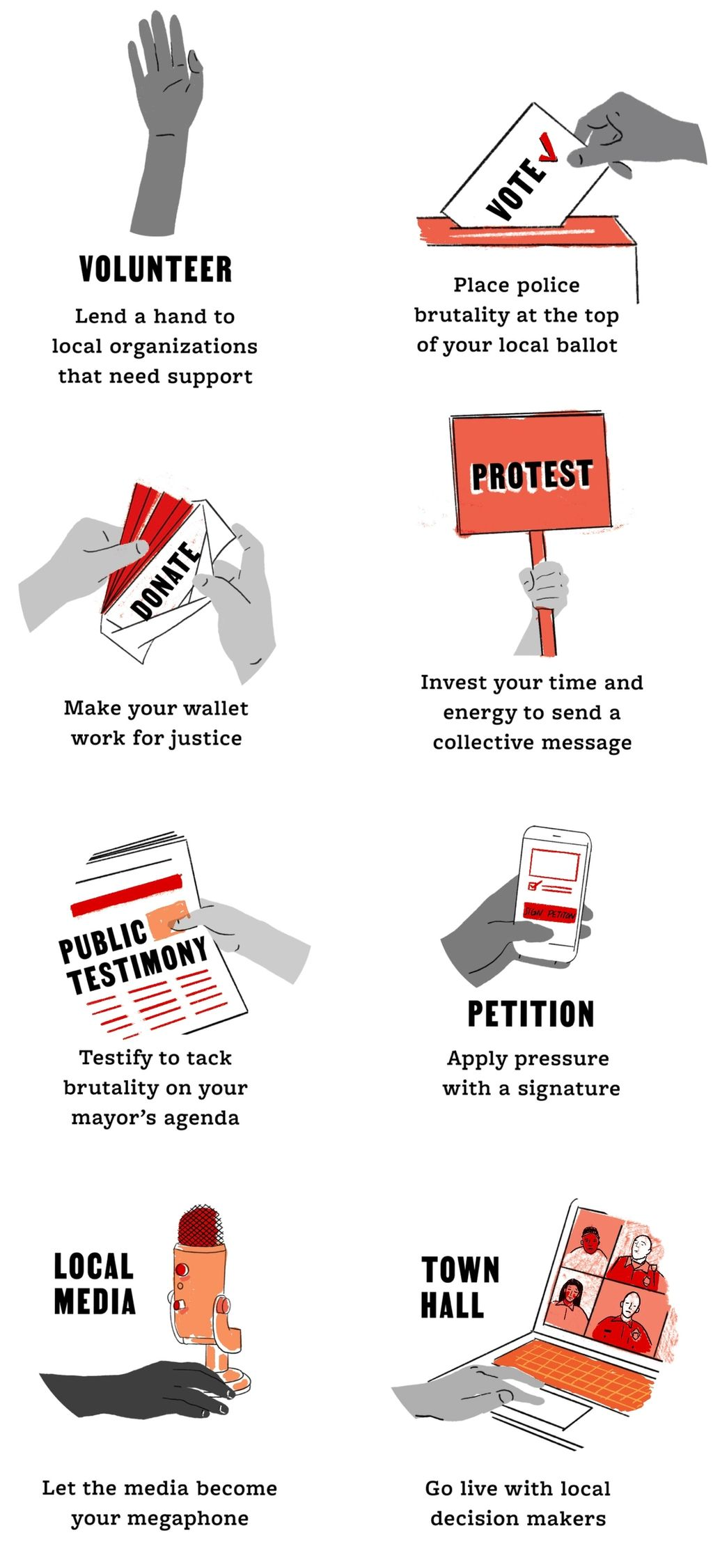Infographic of hands acting our 8 tools for change: volunteer, vote, protest, donate, petition, public testimony, local media, town hall
