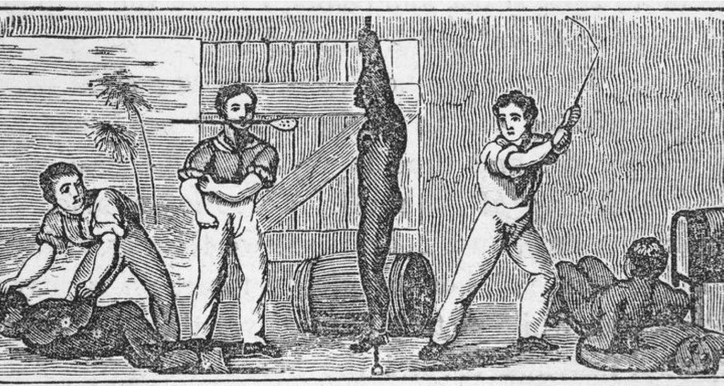 Historical illustration of three white men whipping four black men