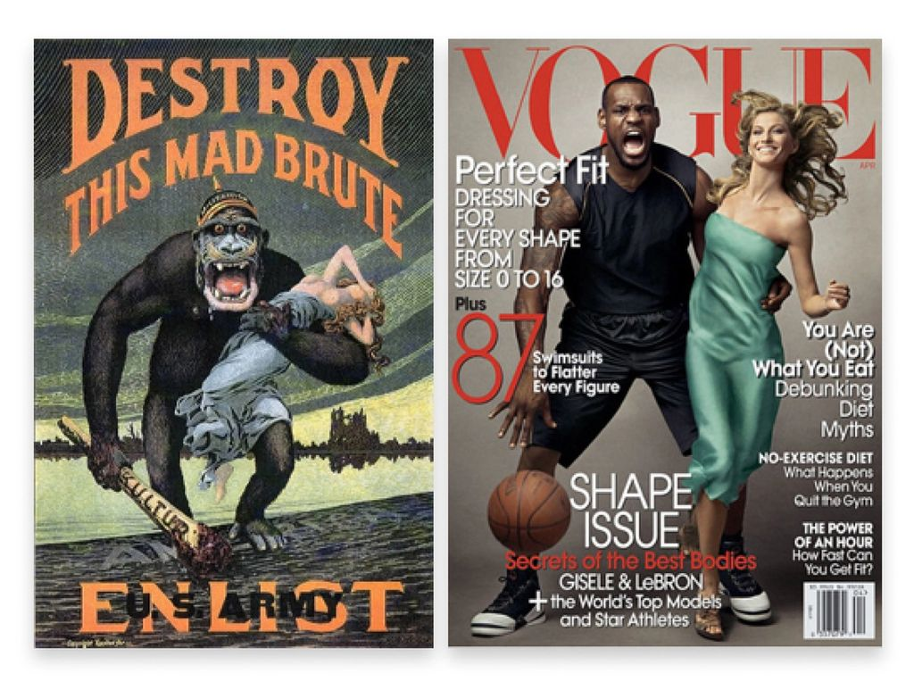 Side by side comparison of a recent Lebron James and Gisele Bündchen Vogue cover and a Brute propaganda poster with an ape snatching a white woman
