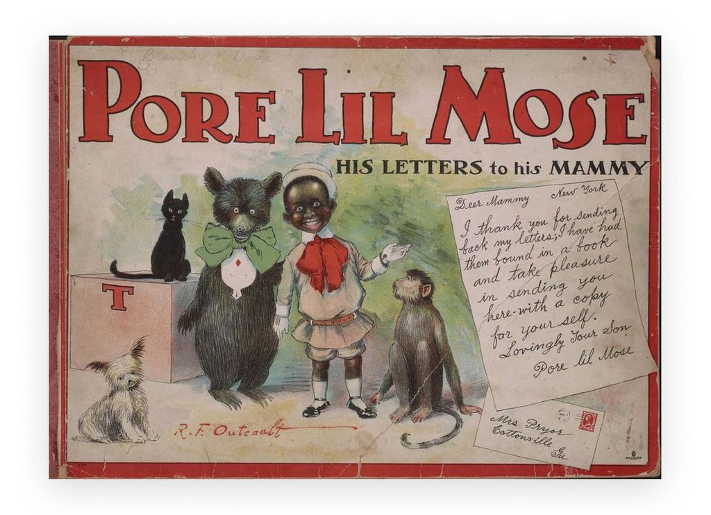 Historical artwork of Pore Lil Mose, a racist cartoon