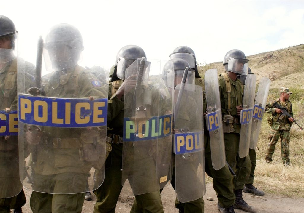 Group of policemen in military gear