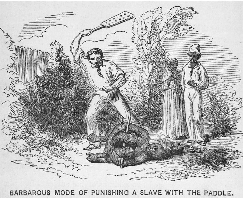 """Historial illustration of """"Barbarous Mode of Punishing a slave with a paddle"""""""