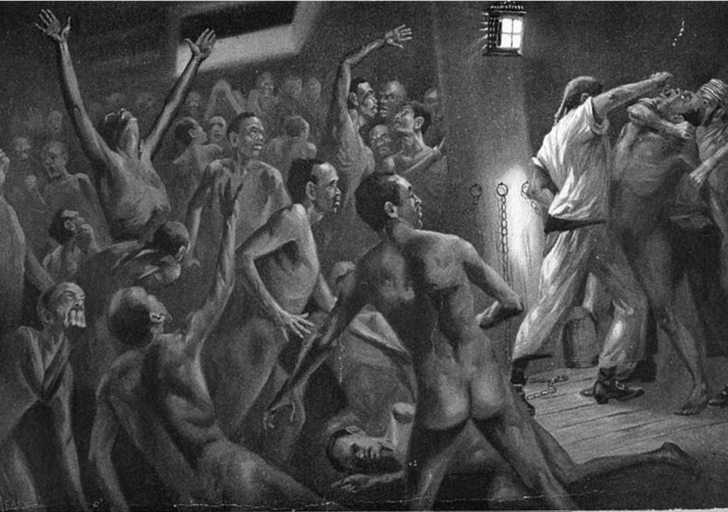 Historical drawings of enslaved people interacting with violent slave ship crews
