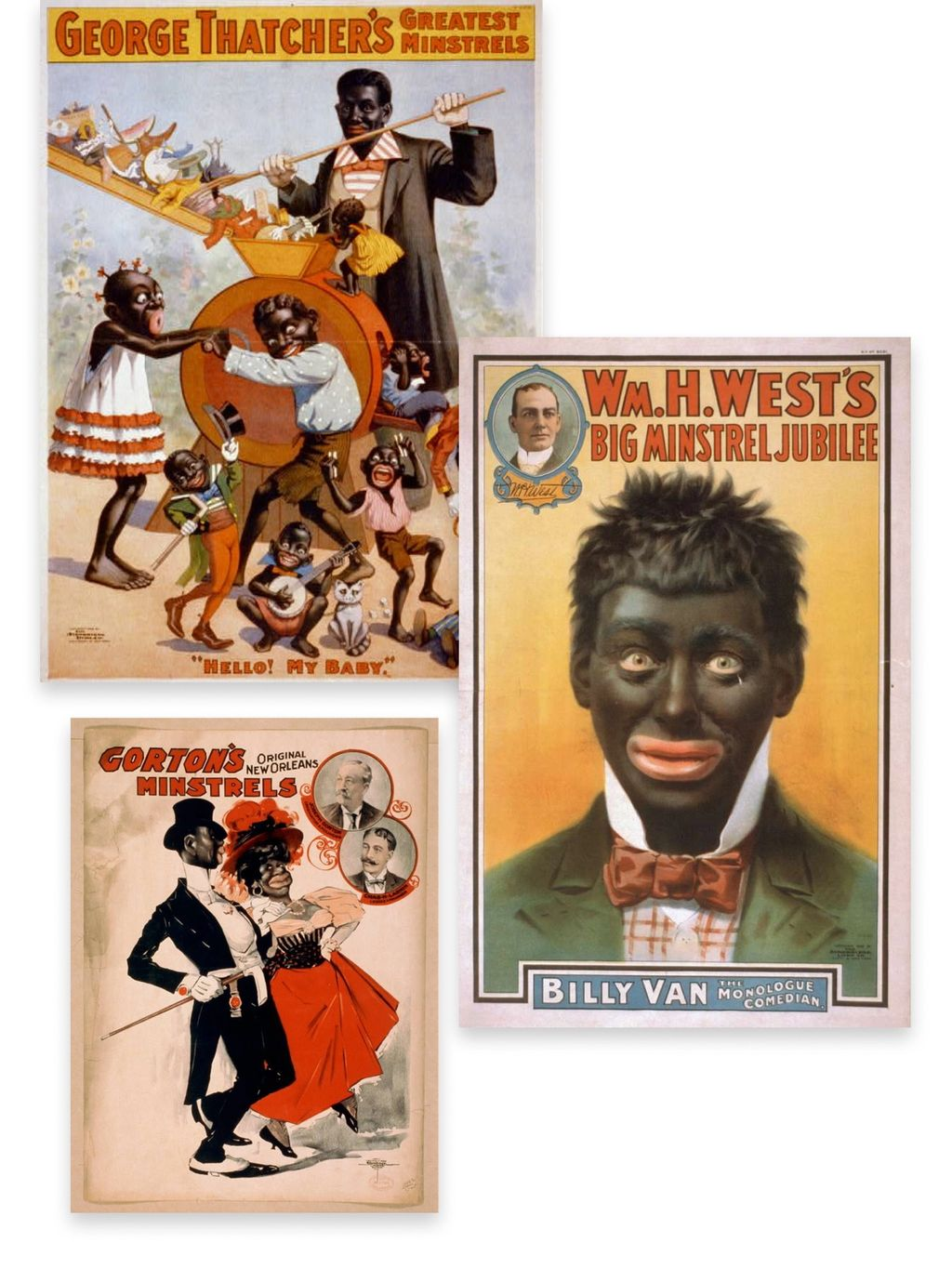 Historical artwork and imagery of minstrel shows and blackface