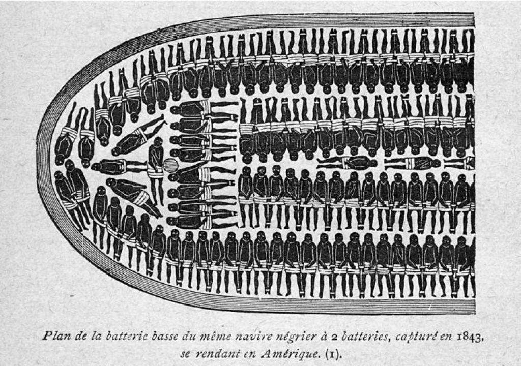 Historical illustration of enslaved people laying side by side on slave ships